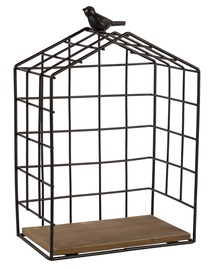 Home4you Wall Shelf Bird Cage Black Small