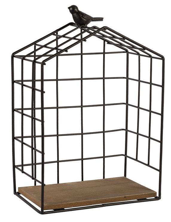 Home4you Wall Shelf Bird Cage Black Small