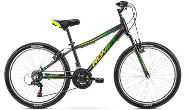 Детский велосипед Romet Rambler, черный/зеленый, 24″