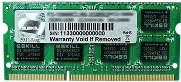 Operatīvā atmiņa (RAM) G.SKILL F3-12800CL11S-4GBSQ DDR3 (SO-DIMM) 4 GB CL11 1600 MHz