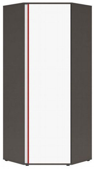 Black Red White Graphic Hallway Wardrobe 78x191x78cm Wolfram Grey/Red/White