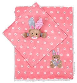BabyOno Double Sided Minky Blanket With First Little Friend Pink