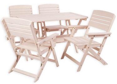 Āra mēbeļu komplekts Folkland Timber Heini 4, balts, 4 sēdvietas