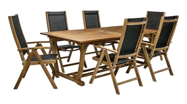 Home4you Future Expandable Table And 6 Chairs Acacia