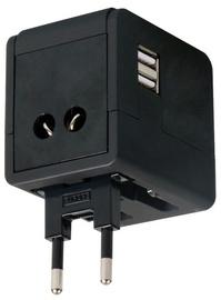 ADAPTERIS CEĻOJUMA 4IN1 USB MELNS 43635