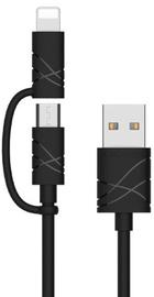 Usams U-Gee 2in1 Universal USB To Micro USB/Apple Lightning Cable 1m Black