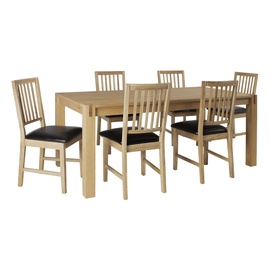 Home4you Chicago New/Gloucester Dining Set 6 Chairs Oak/Black