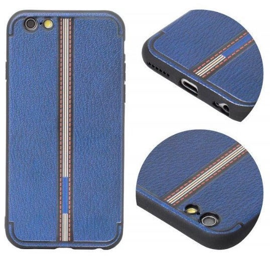 Mocco Trendy Grid And Stripes Pattern 3 Back Case For Apple iPhone X Blue