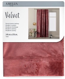 AmeliaHome Velvet Pleat Curtains Rose 140x270cm