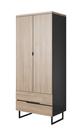 Idzczak Meble Luna 07 2D Wardrobe Black Matt/Grandson Oak