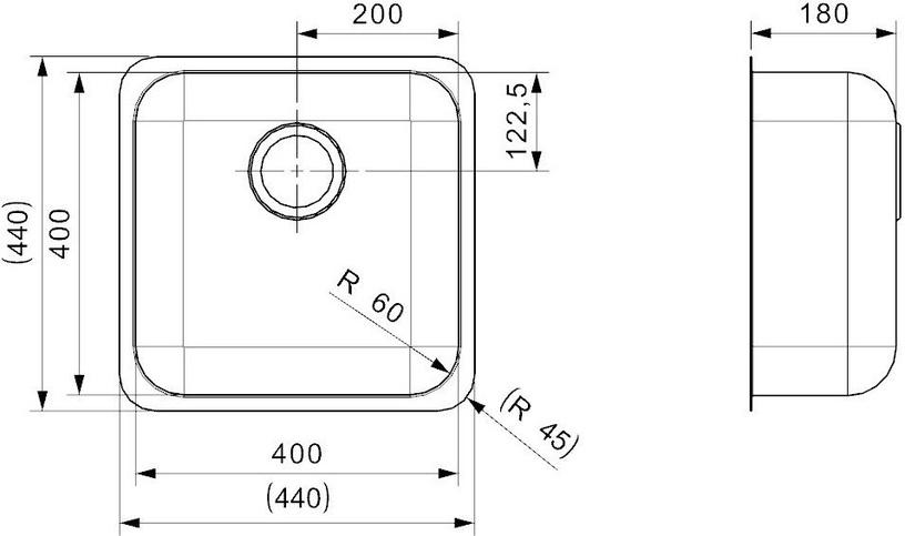 Reginox IB 4040 U 440x400mm