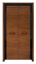 Skapis Black Red White Arosa Oak Brown/Black Gloss, 105x60x200.5 cm