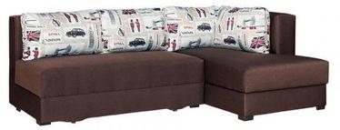 Stūra dīvāns Bodzio Judyta Dark Brown/London 1, labais, 225 x 155 x 77 cm
