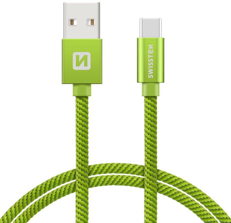 Swissten Textile USB To USB Type-C 3.1 Data And Charge Cable 2m Green