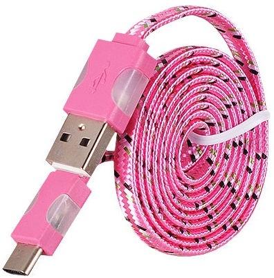 Etui Led Flashing Light USB To Type-C Cable 1m Pink