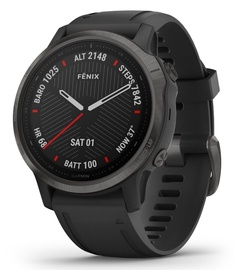 Garmin Fenix 6S Sapphire Carbon Grey with Black Band with Maps Music