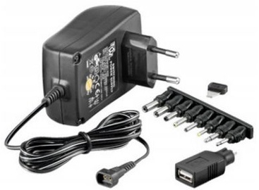 Techly Universal Power Adapter With 7 Removable Plugs 3-12V 1A 12W