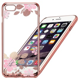X-Fitted Pink Flower Swarovski Crystals For Apple iPhone 6/6s Pink