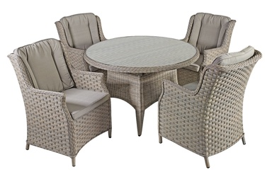 Home4you Pacific Table And 4 Chairs Set Beige/Grey