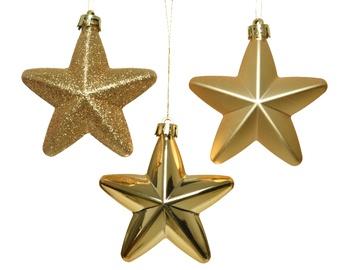 Ziemassvētku eglīšu rotaļlietas zvaigznes, 7,5 cm, 6 gab.
