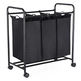 Корзина для белья Songmics Laundry Cart 3 Bags Black