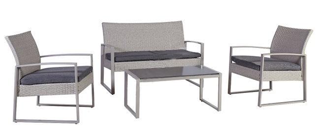 Āra mēbeļu komplekts Home4you Victoria 20574, pelēks, 4 sēdvietas