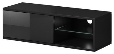 TV galds Vivaldi Meble Best Black/Black Gloss, 1000x358x305 mm