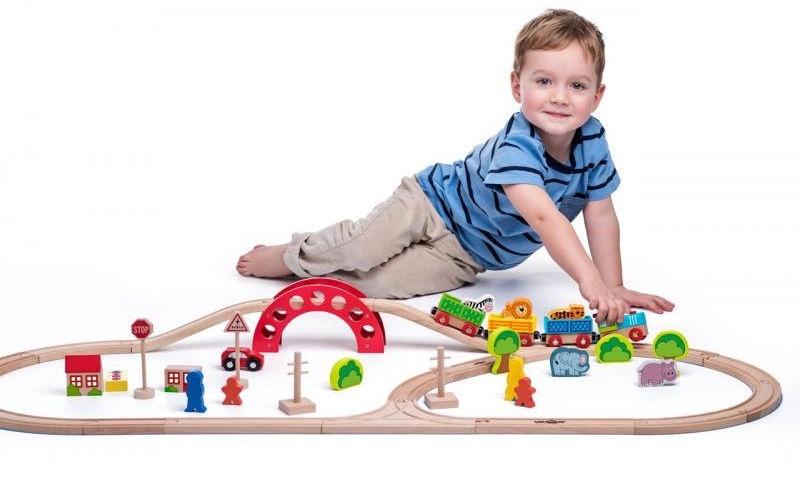 Woodyland Railway & Zoo Set 118cm 60pcs 93060