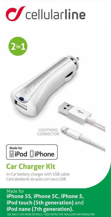Cellular Line USB Car Charger With Apple Lightning Cable White