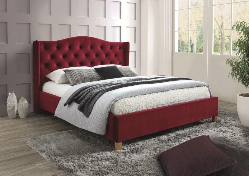 Signal Meble Bed Aspen Velvet 160x200cm Red