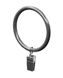 Profi-Styl Curtain Rod Ring With Clip D25mm Nickel