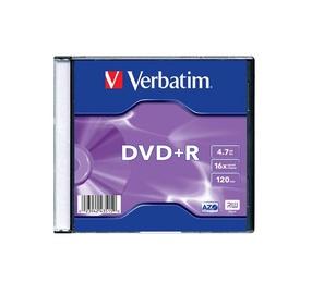 DISKS DVD+R 4,7 GB 16X PLĀNĀ KASTĪTĒ (VERBATIM)