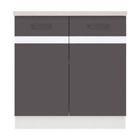 Apakšējais virtuves skapītis Black Red White Junona Line D2D/80/82 Grey/White, 800x470x852 mm