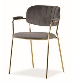 Ēdamistabas krēsls Signal Meble Carlo II Velvet Grey/Gold, 1 gab.