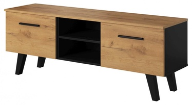 ТВ стол Vivaldi Meble Nord, коричневый/черный, 1400x380x520 мм