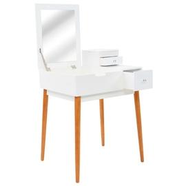 Столик-косметичка VLX Dressing Table 245752, белый, 60 см x 50 см x 86 см, с зеркалом