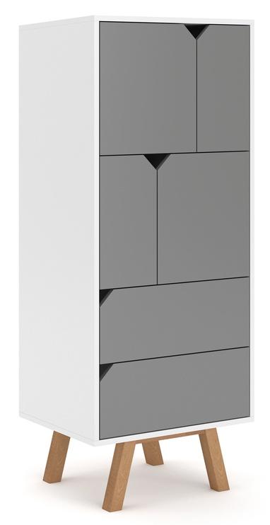 Skapis Vivaldi Meble Tokio TK4 White/Grey Mat, 157x42x140 cm