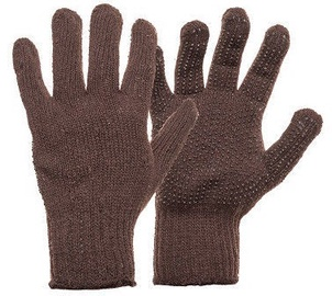 DD Knitted Gloves With PVC Dots Brown 11