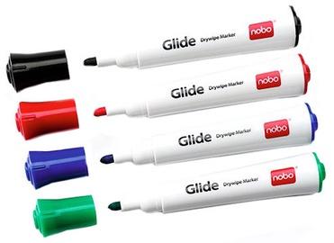 Baltās tāfeles marķieris Nobo Glide Drywipe Markers 4-Pack