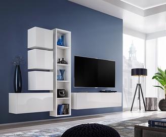ASM Blox III Living Room Wall Unit Set White