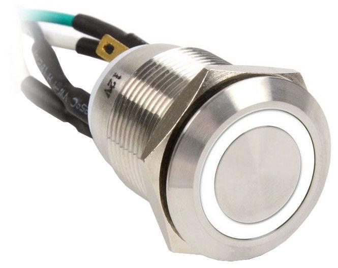 Impactics Push Button Silver 19mm IP67 LED White