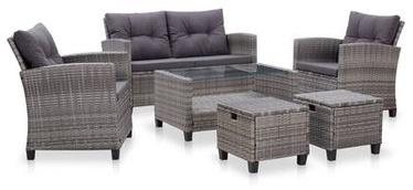 Āra mēbeļu komplekts VLX 6 Piece Garden Sofa Set Poly Rattan, pelēks, 6 sēdvietas