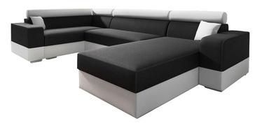 Stūra dīvāns Idzczak Meble Infinity Super Black/White, 332 x 185 x 93 cm