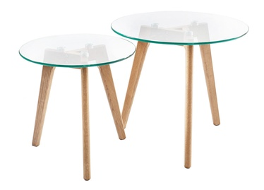 Kafijas galdiņš Home4you Helena Glass/Oak, 500x500x450 mm