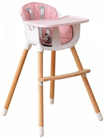 EcoToys Wooden Feeding Chair 2in1 White/Pink