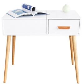 GoodHome Modern Cosmetic Table w/ Mirror White/Oak