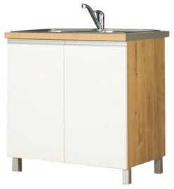 Apakšējais virtuves skapītis Bodzio Monia For Sink 80 White/Brown, 800x520x860 mm