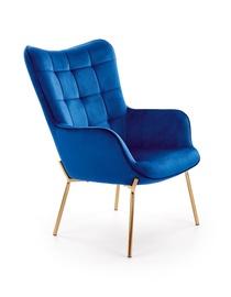 Atzveltnes krēsls Halmar Castel 2, zila/zelta, 71x79x97 cm