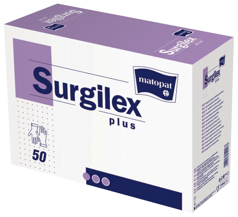 Lateksa cimdi Matopat Surgilex Plus ar talku, izmērs 6.5, 50 gab
