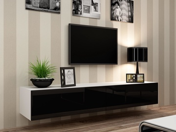TV galds Cama Meble Vigo 180 White/Black Gloss, 1800x300x400 mm